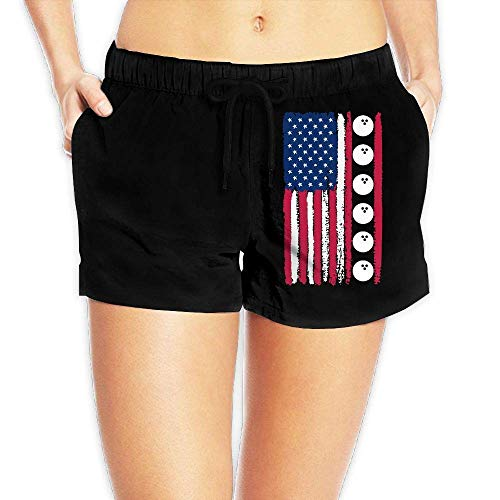 Hwgss USA Flag Bowling Ball Womens Printing Boardshorts Summer Casual Bathing Suit with Pockets(S) - Womens Side Ruched Top