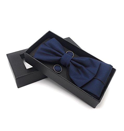 JillyMode Herren Krawatte (Set, mit Einstecktuch u.ManschettenKnöpfe) HANDMADE K0304 (K04-Fliege-Set-Dunkelblau)