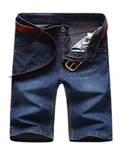 Minetom Herren Denim Bermuda Jeans Shorts Sommer Kurze Hose Basic Jeanshose Destroyed Used-Look Stretch Jogger Cargo Freizeithose C Blau 01 W32/Taille 81CM