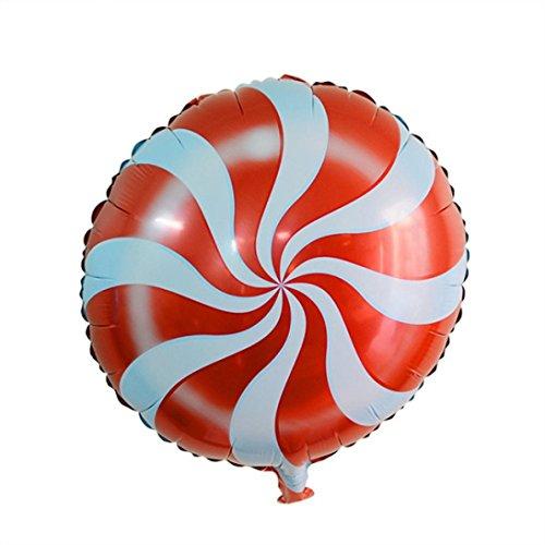 Dragon868 Folie Ballon 5 Stück Folie Runde Candy Lollipop Ballons - Geburtstagsparty Dekoration 18 Zoll (Rot, Folienballons) (Roter Emoji Ballon)