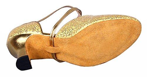 Honeystore Damen's Criss Cross Riemen Metallschnalle Tanzschuhe Gold