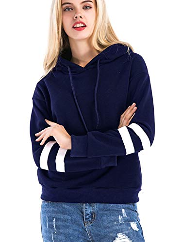 Khhalisi Women's Full Sleeves Navy Striped Sweatshirt Hoodie