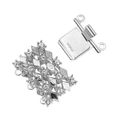 Rhodium Plated 3-Strand Box Clasp - Diamond Design With Crystals - 21x16mm