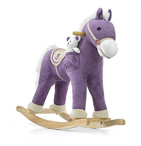 Milly mally 5901761122589-cavallo a dondolo giocattolo a dondolo con effetti sonori orsacchiotto, bianco