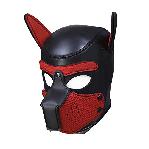 usmley Petplay Puppy Maske Schwarz Hundemaske Leder mit Ohren,Unisex Einheitsgröße (Paw Patrol Dog Kostüm)