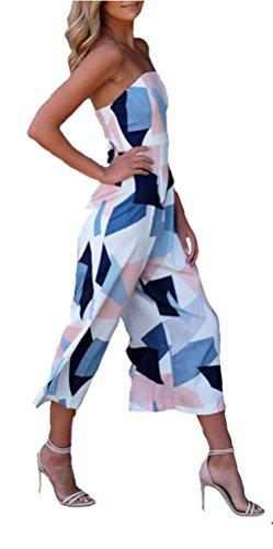 Longwu Mujeres sin hombros sin tirantes mameluco informal de impresión floral playa largo pierna largo mono Blanco1 M