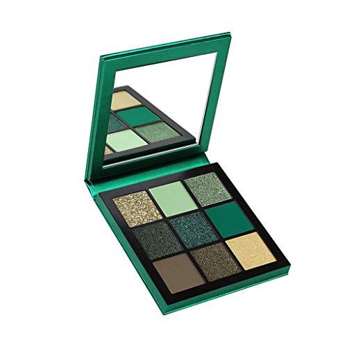 Cooljun 9 Couleurs scintillement Matte Fard à Paupières Palette Shimmer Maquillage Métallique Ombre à Paupières longue durée imperméable à l'eau (vert)