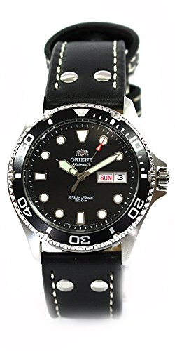 Orient Ray II Deep Black Diver Men's Automatic Divers Watch Day Date Leather Watch