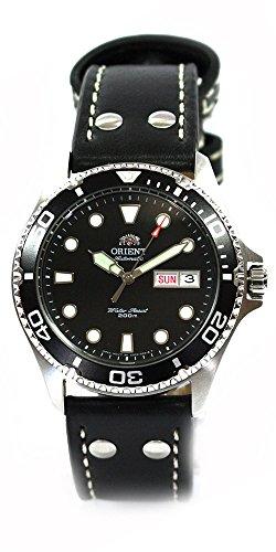 ORIENT Ray II DEEP black Diver Herrenuhr Automatikuhr Taucheruhr Tag Datum Leder