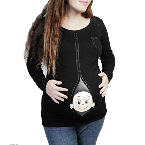 Q.KIM Witzige Umstandsmode Shirt langarm lustiges Shirt wächst mit dem Bauch Stretch Tshirt-Baby, Schwarze XL