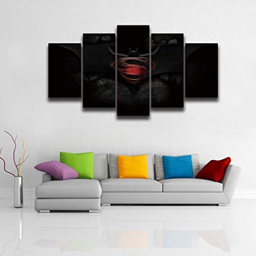 ERQINGWL 5 Stück Leinwand Gemälde Leinwand Malerei Film Bild Batman Vs Superman Malerei Auf Leinwand Kunst Wand Wohnkultur Für Jungen Baby Kinder Kinderzimmer (Superman Wand-kunst)