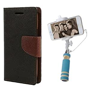 Aart Fancy Diary Card Wallet Flip Case Back Cover For Samsung J1 - (Blackbrown) + Mini Aux Wired Fashionable Selfie Stick Compatible for all Mobiles Phones By Aart Store