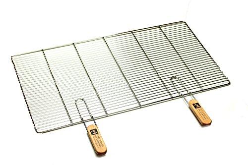 Edelstahl-Grillrost mit abnehmbaren Handgriffen 82 x 43 cm