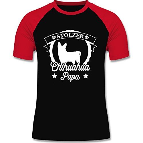 Shirtracer Hunde - Stolzer Chihuahua Papa - Herren Baseball Shirt Schwarz/Rot