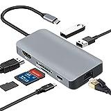 Kainuoa USB-C-Hub, 7-in-1-Typ C-Hub mit Ethernet-Anschluss, 4K USB C zu HDMI, 2 USB 3.0-Anschlüsse,...