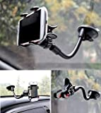 Mobiwear Soft Tube Holder with Multi-angle 360 Degree Rotating Clip Windshield Dashboard Smartphone Car Holder for mobile phone