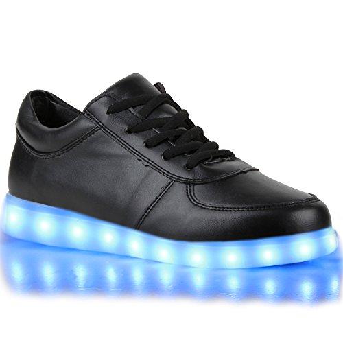 Sofort lieferbar aus DE - Leuchtende und Blinkende Damen Herren Kinder Mädchen Jungen Sneakers High und Low Led Light Farbwechsel Schuhe LED Licht Schwarz Low