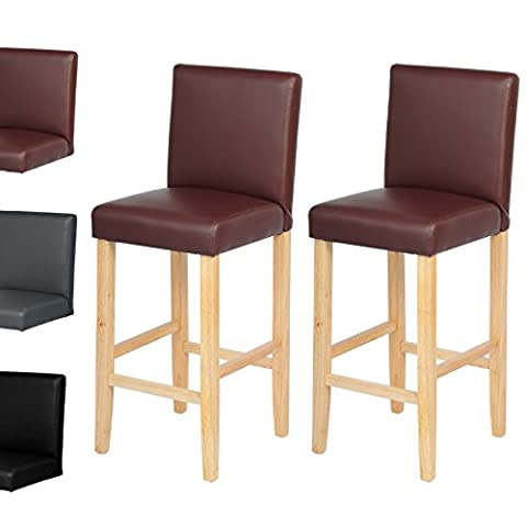 WOLTU BH67br-2-a 2 x Breakfast Bar Stool Artificial Leather Counter Chair Dining Chair Solid Wood Bar Front Chair /