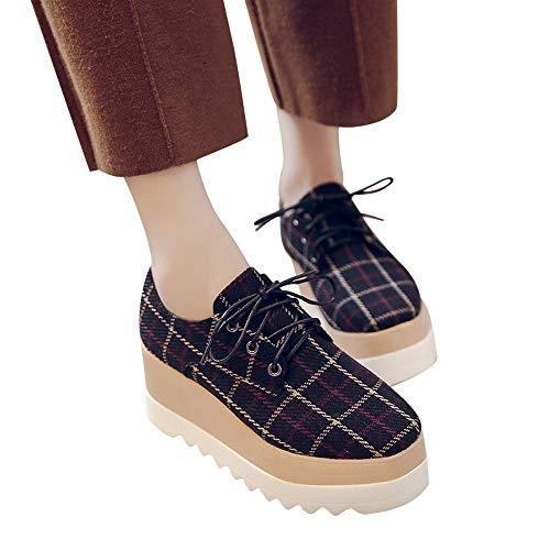ABsoar Stiefel Damen Freizeitschuhe Mode Frauen Grid erhöhen High-Sohle einzelne Schuhe Studenten Lace Up Freizeitschuhe