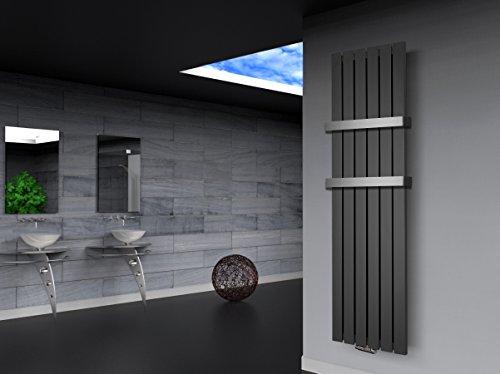 Badheizkörper Design Peking 3, HxB: 180 x 47 cm, 1118 Watt dunkelgrau (metallic) + 2 Handtuchhalter (50mm) (Marke: Szagato) Made in Germany / Top-verarbeiteter Bad und Wohnraum-Heizkörper (Mittelanschluss)