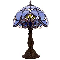 Blue Purple Baroque Tiffany Style Table Lamps Lighting W12H18 Inch Stained Glass Lampshade Antique Base For Living Room Bedroom Bedside Desk Lamp