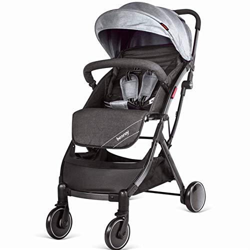 Besrey passeggino da aereo passeggino pieghevole e reclinabile passeggino compatto e leggero, per bambini da 0-36 mesi-grigio ...