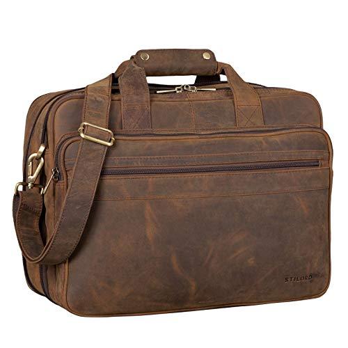 STILORD \'Leopold\' Umhängetasche Herren Ledertasche Aktentasche Schultertasche Lehrertasche Notebooktasche Laptoptasche Unitasche Collegetasche echtes Büffel-Leder, Farbe:Colorado - braun