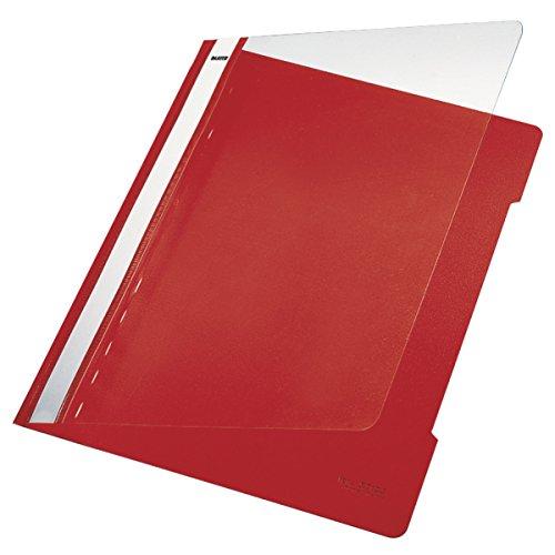 Esselte Leitz Hefter Standard, A4, langes Beschriftungsfeld, PVC, rot