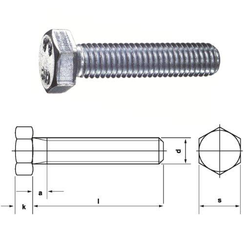Dresselhaus Sechskantschrauben 8.8 mit Gewinde bis Kopf DIN EN ISO 4017 (ehem.DIN 933), M 20 x 160 mm, galvanisch verzinkt, 10 Stück