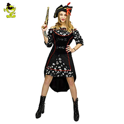 Kostüm Knochen Piraten Mädchen - GAOGUAIG AA Deluxe Knochen Piraten Kostüm Frauen Halloween Kostüm Cosplay Kostüme Party Mädchen Kleid In Karneval SD (Color : Onecolor, Size : Onesize)