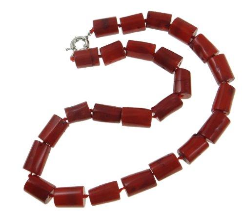 Collana di corallo, corallo naturale, naturale, rosso, colonna 14-21mm