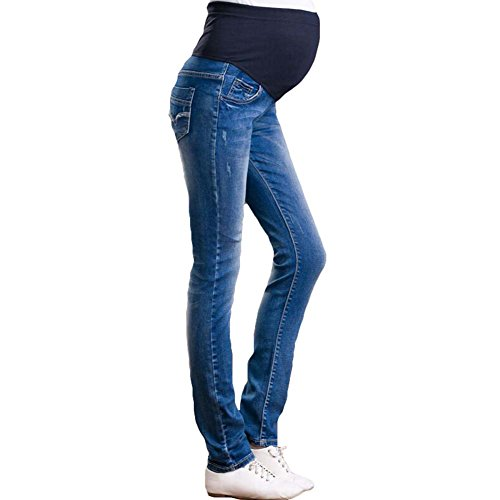 Umstandsmode Mutterschafts Hose Umstands Hose Jeans Slim Fit Freizeithose Dunkelblau/3XL