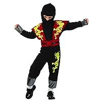 Glossy Look Boys Girls Ninja Warrior Assassin Toddler Fancy Dress Party Kids Costume Red Yellow 2-4 YRS