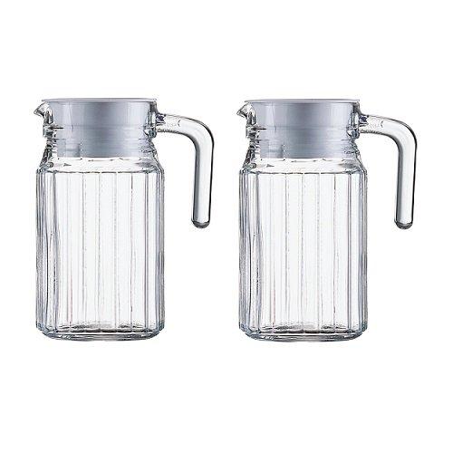 Arcoroc Kühlschrankkannen Kühlschrankkrüge je 0,5 Liter aus Glas mit weißem Kunststoffdeckel