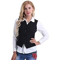 Freebily Women's Fully Lined 3 Button V-Neck Slim Fit Economy Dressy Suit Vest Waistcoat