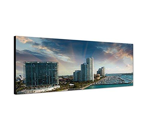 Sinus Art Wandbild 150x50cm Miami Hochhäuser Hafen Meer Boote Wolken