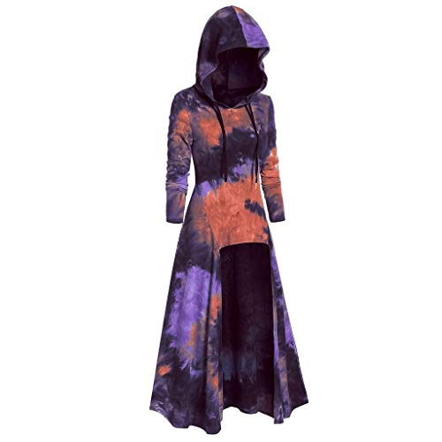 Lazzboy Damenmode Kapuzevintage Mantel High Low Kleid Bluse Tops Karneval Kostüm Damen Langarm Mittelalter Bodenlangen Cosplay Dress Kleidung Große Größen - Zombie Nerd Kostüm Kinder