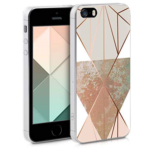 kwmobile Apple iPhone SE / 5 / 5S Hülle - Handyhülle für Apple iPhone SE / 5 / 5S - Handy Case in Glory Dreieck Design Beige Rosegold Weiß