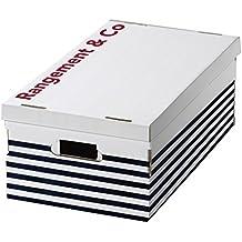 Rangement & Cie Ran5374Marinière - juego de 3cajas de cartón ondulado, blanco/azul, 52x 29x 20cm