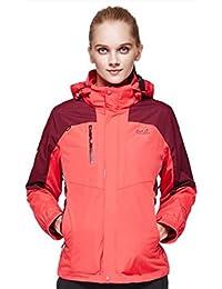 WE&ZHE Pareja modelos Soft Shell chaquetas otoño invierno 3-en-1 dos piezas frente Zip impermeable a prueba de viento aislamiento desmontable montaña y chaqueta abrigo . 4# . 3xl