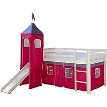 Homestyle4u 1553 Lotte III. Hochbett Spielbett Kinderbett Weiss aus Kiefer mit Leiter Rutsche Turm und Vorhang in Pink B x H 90 x 200 cm Jugendbett