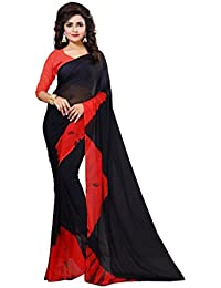 Surat Fashion Women's Chiffon Saree (Black & Red)