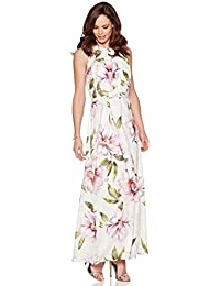 M&Co Ladies Sleeveless Floral Print Tie Waist Belt Maxi Dress