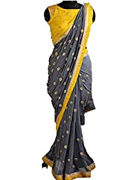 Arawins Women's Georgette Saree With Blouse Piece (Sale-Saree-SqnYellow_Grey_Free Size)