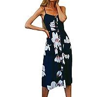 5ccb36de90 Women s Dress Summer Floral Print Button Decor Swing Midi Dresses  Sleeveless Beach Sun Dress Casual Party