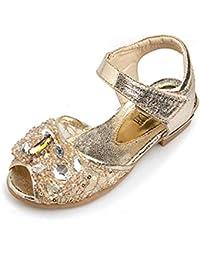 4bb9205bf Zhongsufei Zapatos de Princesa Niños Niñas Zapatos de Fiesta de Bodas  Brillo Damas de Honor Zapatos
