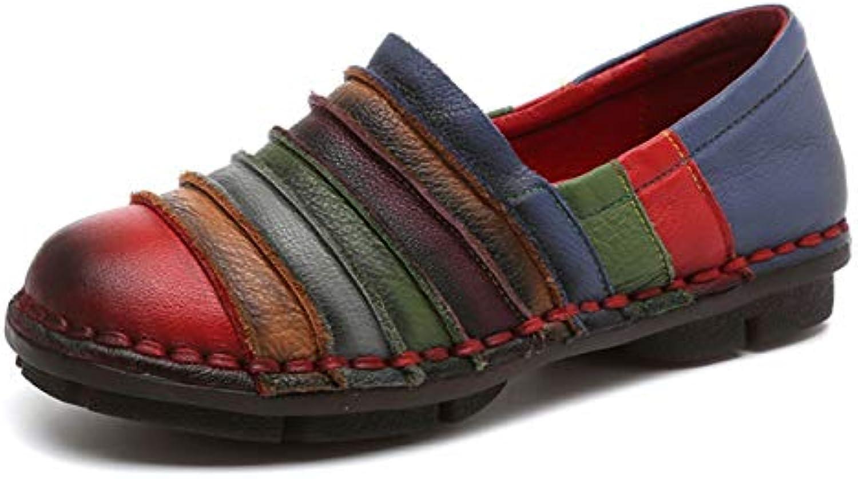 ZHRUI Scarpe arcobaleno per le donne in pelle Coloreeeata piatta comoda slittamento sui fannulloni (Coloreee   Rosso... | Offerta Speciale  | Maschio/Ragazze Scarpa