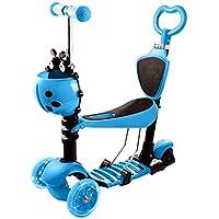 mymotto 5 en 1 Scooter Patinete para Niños con asiento cesta 3 ruedas de iluminación LED Manillar Ajustable altura ajustable (Azul)