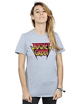 Marvel Mujer Guradians of The Galaxy Vol. 2 Rocket and Groot Metal Logo Camiseta del Novio Fit