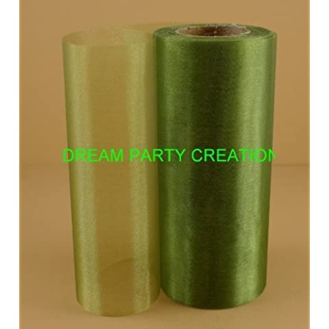 6 Organza Shimmering Sheer Spool Roll 25 Yards (SAGE GREEN) by DPC